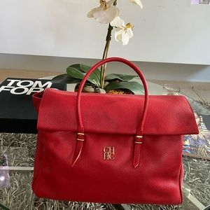 CAROLINA HERRERA Red Calfskin Leather Flap Satchel